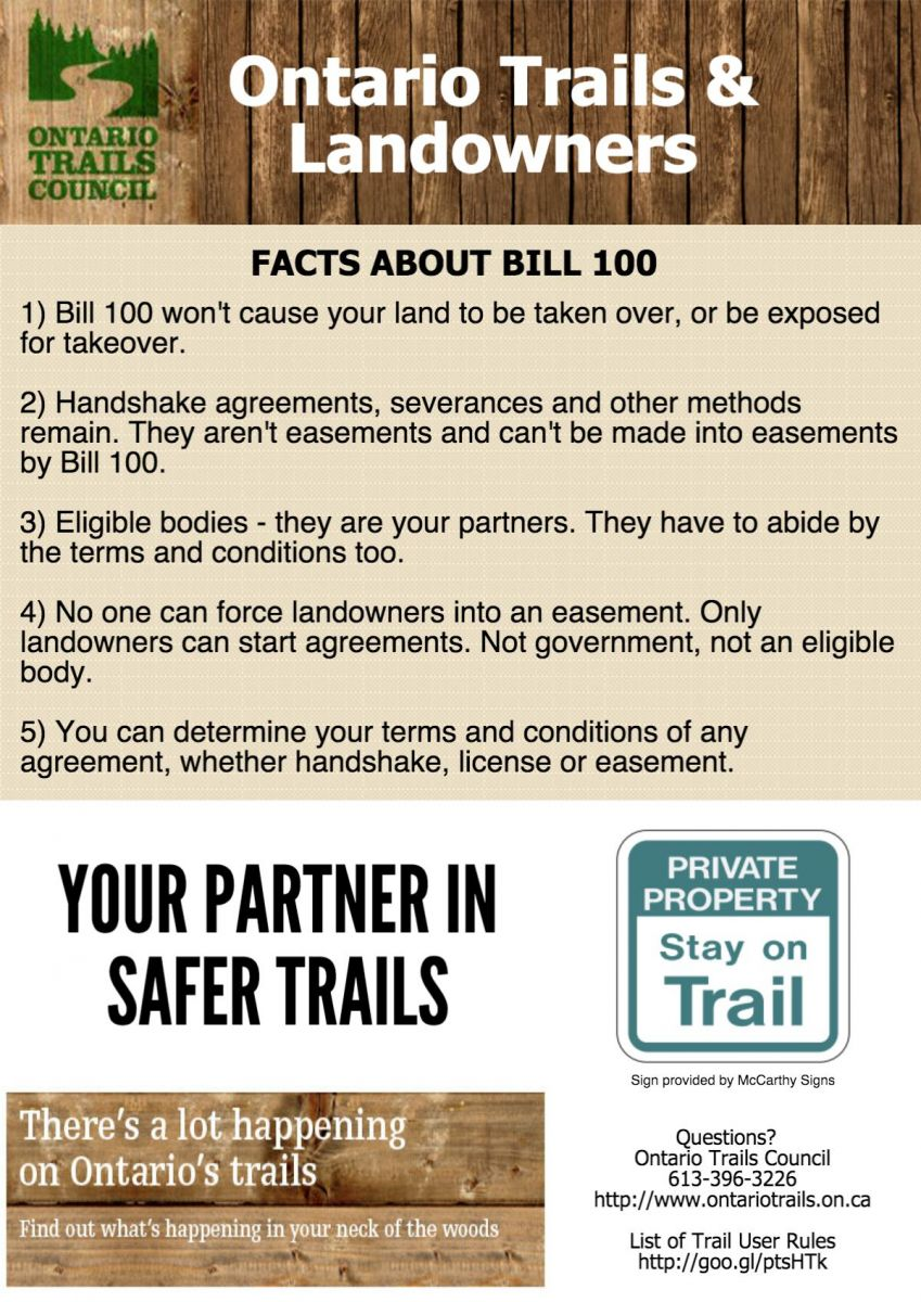 ontario trails and landowner issues with Bil 100