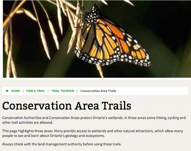 conservation areas header for ontario trails group