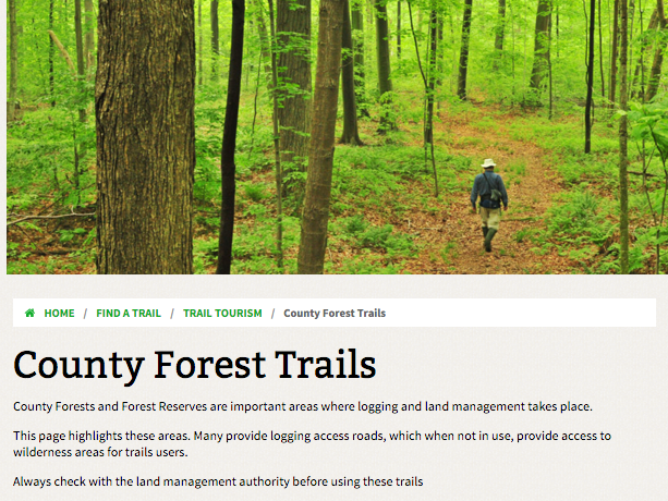 county forest page description for ontario trails